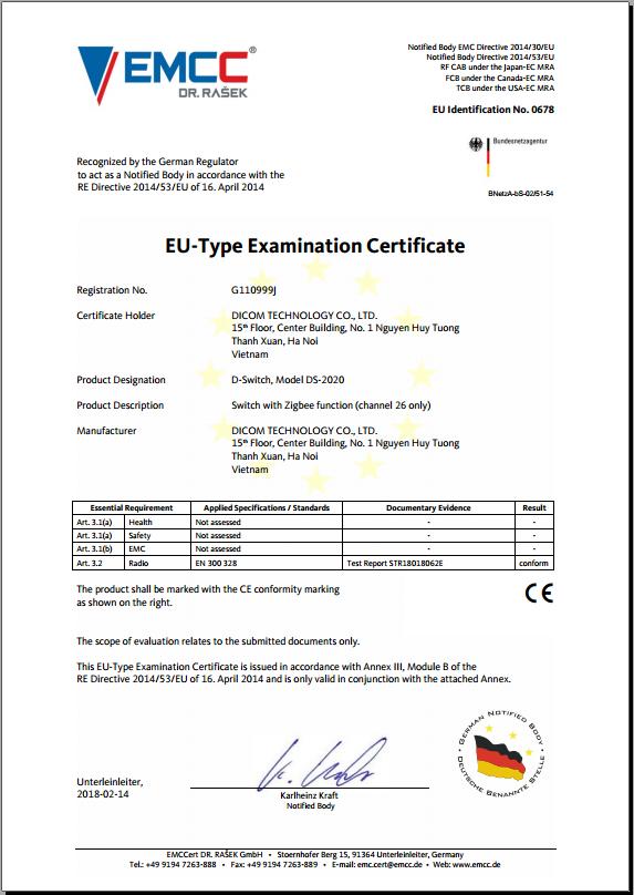 Dicom - Công bố chứng nhận CE
